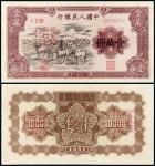 """1951年第一版人民币壹万圆""""牧马""""正、反单面样票各一枚/PMG63、58"""
