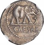 JULIUS CAESAR. AR Denarius (3.88 gms), Military Mint in Italy, ca. 49-48 B.C.NGC EF, Strike: 4/5 Su