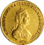 RUSSIA. 5 Rubles, 1782-CNB. St. Petersburg Mint. Catherine II (The Great). PCGS AU-55 Gold Shield.