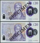 Bank of England, Sarah John, polymer £20, ND (20 February 2020), serial number AA01 000928/998, purp