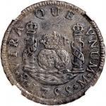 1755年墨西哥2瑞尔银币,NGC AU Details,有鏽渍