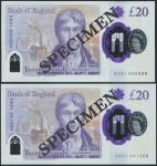 2020年英格兰银行20英镑样票2张 完未流通
