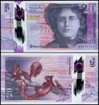 Royal Bank of Scotland plc, polymer £20, 27 May 2019, serial number AA 111111, purple and pale red,