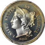 1868 Nickel Three-Cent Piece. Proof-67 (PCGS).