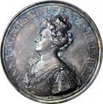 GREAT BRITAIN. Union of England & Scotland Medal Struck in Silver by J. Crocker, 1707. Anne (1702-14