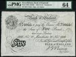 Bank of England, J.G. Nairne, £5, Manchester 20 November 1916, serial number 96T 71055, black and wh