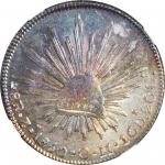 1850-Zs OM年墨西哥鹰洋壹圆银币。萨卡特卡斯造币厂。 MEXICO. 8 Reales, 1850-Zs OM. Zacatecas Mint. NGC MS-63.