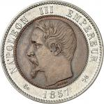 FRANCE Second Empire / Napoléon III (1852-1870). 10 centimes tête nue, flan bimétallique 1857, B, Ro