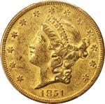 1851-O Liberty Head Double Eagle. Winter-2. AU-53 (PCGS).