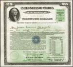 United States of America. Act of September 24, 1917, Amended December 16, 1935. Series B $25 Payable