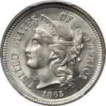 1865 Nickel Three-Cent Piece. MS-67 (PCGS).