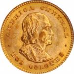 COSTA RICA. 2 Colones, 1900. Philadelphia Mint. PCGS MS-64.