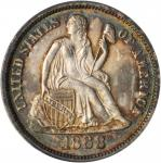 1868 Liberty Seated Dime. Fortin-103. Rarity-5. Repunched Date. MS-65 (PCGS).
