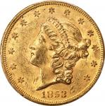 1853 Liberty Head Double Eagle. MS-60 (PCGS).