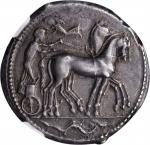 SICILY. Syracuse. Second Democracy, 466-406 B.C. AR Tetradrachm (17.34 gms), ca. 466-460 B.C. NGC AU