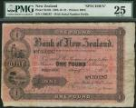 Bank of New Zealand, £1, Wellington, red handstamped date 1 October 1909, serial number C600287, bla