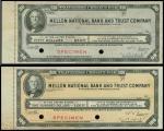 纽约梅隆银行伍拾,一佰旅游支票样票一组2枚,背有贴痕,均AU-UNC