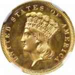 1863 Three-Dollar Gold Piece. MS-67 (NGC).