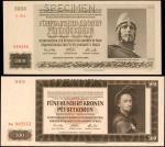 BOHEMIA & MORAVIA. Lot of (2). Nationalbank Fur Bohmen und Mahren in Prag. 500 & 5000 Kronen, 1942-4