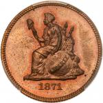 1871 Pattern Quarter Dollar. Copper, reeded edge. PCGS PF64