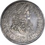 AUSTRIA. 2 Taler, ND (1680). Hall Mint. Leopold I (1657-1705). NGC MS-63.
