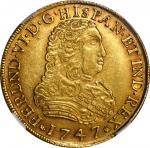 1747年墨西哥费迪南德六世8埃斯库多 NGC AU 58 MEXICO 8 Escudos 1747-Mo MF