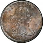 1804 Draped Bust Half Cent. Cohen-12, Breen-11. Rarity-2. Crosslet 4, No Stems. Mint State-64+ BN (P