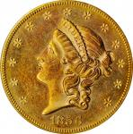 1856-S Liberty Head Double Eagle. Variety 17J. Split Serif. Gold S.S. Central America Label. MS-61 (