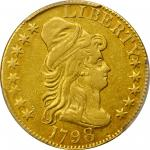 1798 Capped Bust Right Half Eagle. Heraldic Eagle. BD-3. Rarity-5. Large 8, 14-Star Reverse, Wide Da
