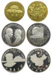 China, lot of 2x crown sized silver proof medallions, commemorating Mao Zedong and his acheivement f