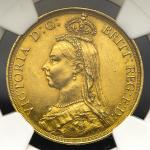 GREAT BRITAIN Victoria ヴィクトリア(1837~1901) 2Pounds 1887 NGC-AU55 EF