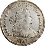 1797 Draped Bust Silver Dollar. BB-73, B-1. Rarity-3. Stars 9x7, Large Letters. EF Details--Harshly