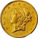 1851-O Liberty Head Double Eagle. AU-58 (NGC).