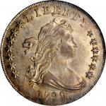 1799/8 Draped Bust Silver Dollar. BB-143, B-2. Rarity-4. 13-Star Reverse. AU-58 (NGC).