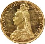 GREAT BRITAIN. 5 Pounds, 1887. PCGS Genuine--Spot Removed, Unc Details Secure Holder.
