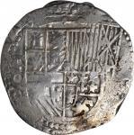 BOLIVIA. Cob 8 Reales, ND (1612-16)-P Q. Potosi Mint. Philip III. FINE.