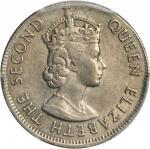 1965-KN年香港伍毫错版 HONG KONG. 50 Cents, 1965-KN. Mint Error. PCGS AU-55 Gold Shield.