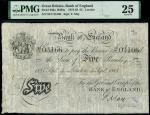Bank of England, Frank May (1873-1893), 5, London, 4 September 1885, serial number 94/T 03166, black