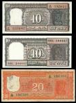Reserve Bank of India, 10 rupees, (2), 20 rupees, 100 rupees (2), brown, orange, green/blue respecti