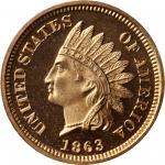 1863 Indian Cent. Snow-PR1. Proof-65 Deep Cameo (PCGS).