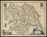 Original Map of the County of Yorkshire (England), by J. Blaeu.  Printed in Amsterdam in 1648. 50 x