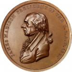 1809 James Madison Indian Peace Medal. Bronze. Third Size. First Reverse. Julian IP-7, Prucha-40. MS