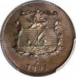 1891-H年洋元半分。喜敦造币厂。 BRITISH NORTH BORNEO. 1/2 Cent, 1891-H. Heaton Mint. PCGS MS-65 Brown.