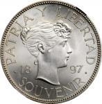CUBA. Silver Souvenir Peso, 1897. NGC MS-64+.