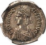 THEODOSIUS II, A.D. 402-450. AR Light Millarensis (4.34 gms), Constantinople Mint, ca. A.D. 408-420.