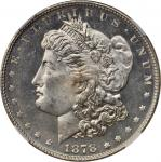 1878 Morgan Silver Dollar. 7 Tailfeathers. Reverse of 1878. MS-64+ DPL (NGC).