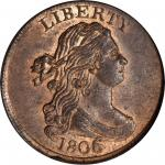 1806 Draped Bust Half Cent. C-4. Rarity-1. Large 6, Stems to Wreath. MS-64 RB (PCGS). CAC.