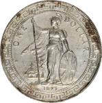 1897/6-B年英国贸易银元站洋壹圆银币。孟买铸币厂。 GREAT BRITAIN. Trade Dollar, 1897/6-B. Bombay Mint. PCGS Genuine--Harsh