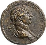 TRAJAN, A.D. 98-117. AE Sestertius (25.46 gms), Rome Mint, A.D 116-117. NGC Ch AU, Strike: 4/5 Surfa