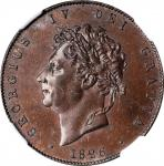 GREAT BRITAIN. 1/2 Penny, 1826. London Mint. George IV. NGC MS-62 Brown.